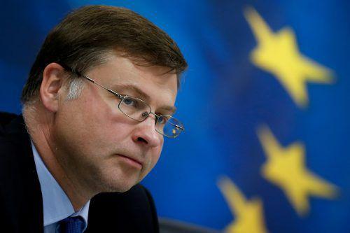 Dombrovskis legte ein Paket mit 14 Maßnahmen vor. reuters