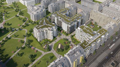 """Drei Gebäude und die entsprechende Infrastruktur umfasst das Zima-Projekt """"Kirschblüte"""" in Wien 22.Fa"""