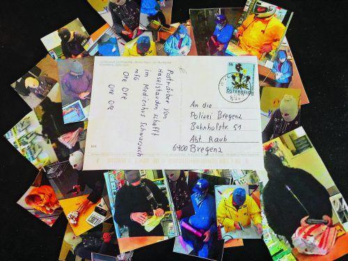 Eine der Postkarten, die der Tiroler verschickte und denen er seinen Spitznamen verdankt. VN/HF, Polizei