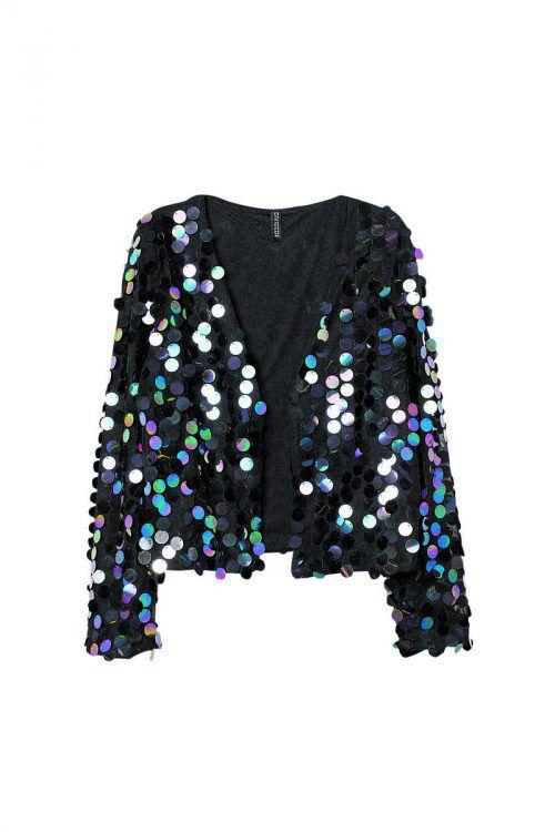 Große pailletten             Offener Kurz-Blazer mit schimmernden großen Pailetten, gesehen bei H&M um 34,99 €.