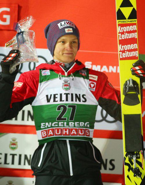 Im sechsten Saisonbewerb holte Daniel Huber in Engelberg den ersten Podestplatz für die ÖSV-Adler. GEPA