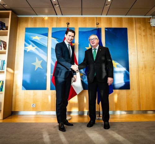 Kanzler Kurz (l.) mit EU-Kommissionspräsident Juncker.APA