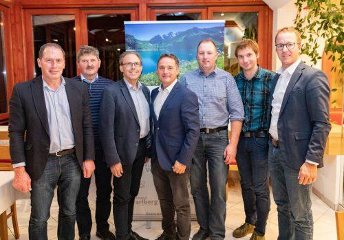 Landesobmann Josef Moosbrugger und LR Christian Gantner gratulieren dem neu gewählten Bezirksvorstand in Bregenz (v.l.n.r.): Josef Haller, Franz Martin, Norbert Sieber, Georg Fink, Roman Rist.