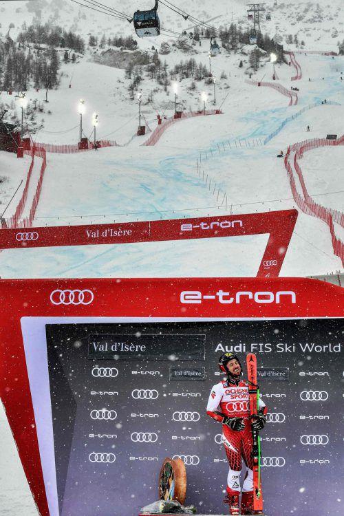 Neun Jahre nach seinem ersten Weltcupsieg feierte Marcel Hirscher in Val d'Isere sein Sieg-Jubiläum.ap