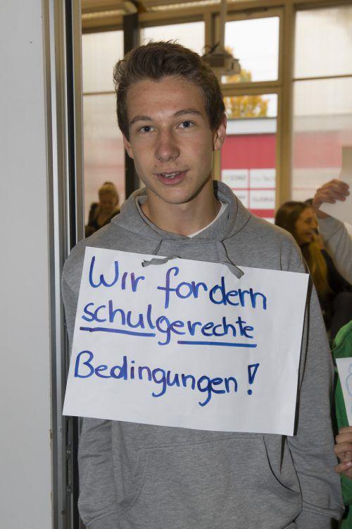 Protest am Sportymnasium 2015. Wann kommt der Neubau? VN/Paulitsch