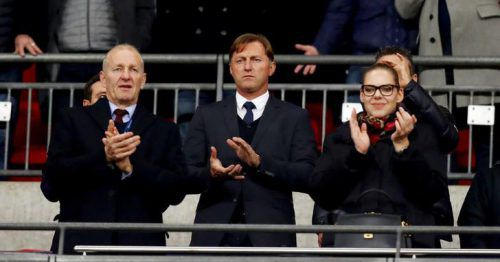 Ralph Hasenhüttl zusammen mit Ralph Krueger beim Spiel gegen Tottenham.Watson/Southampton