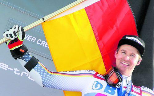 Stefan Luitz hat wohl zu früh gefeiert, der Sieg in Beaver dürfte an Marcel Hirscher gehen.gepa