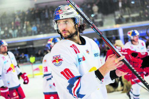 Traf gegen Linz zwei Mal, heute will er gegen Oulu scoren: Raphael Herburger. gepa