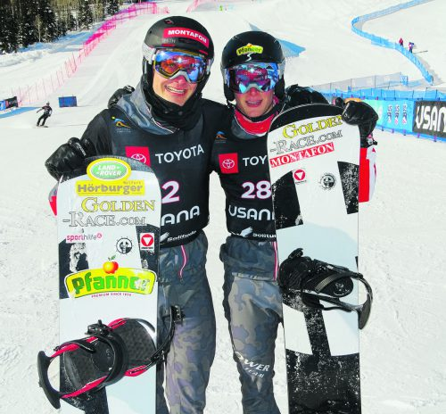 Brother-Act in Solitude: Alessandro (l.) und Luca Hämmerle greifen bei der Weltmeisterschaft im Snowboard Cross an. ÖSV/Wieser