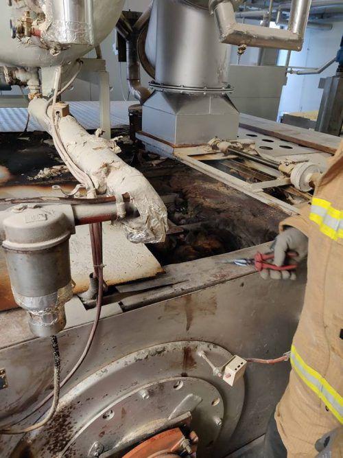 Der Ofen wurde durch den Glimmbrand erheblich beschädigt. fw Rankweil