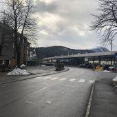 Straßensperre am Bahnhof Rankweil