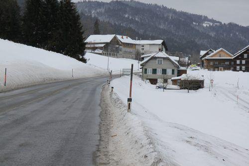Die Unglückstelle auf der L 200 bei Alberschwende: Hier starb am Sonntag ein 50-Jähriger Andelsbucher.VOL.AT/MAYER