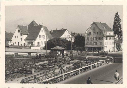 Ein Blick von der Sägerbrücke in die Marktstraße um 1960.