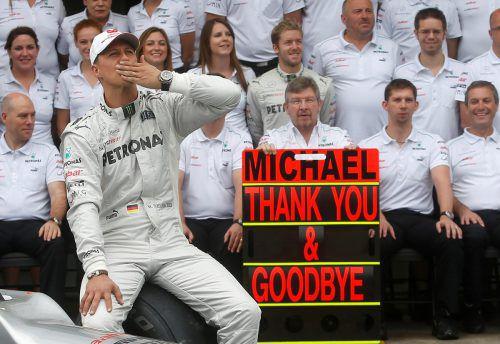 Emotionaler Abschied 2012 von Michael Schumacher beim Mercedes-Rennstall.Reuters