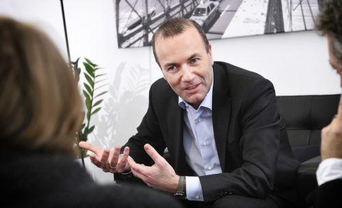EVP-Spitzenkandidat Manfred Weber stellt sich den Fragen der Bundesländerzeitungsredakteure. johannes zinner