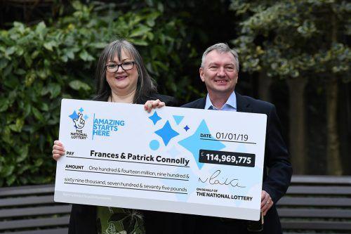 Frances und Patrick Connolly haben 115 Millionen Pfund gewonnen. Reuters