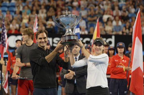 Für Federer war es der dritte Sieg beim Hopman-Cup, für Bencic der zweite.AP