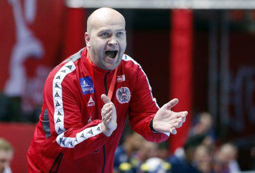 In den bisherigen 99 Länderspielen verbuchte Patrekur Johannesson als Teamchef von Österreichs Handballern 44 Siege, sechs Remis und 49 Niederlagen.AP