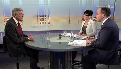 Kärntens Landeshauptmann Peter Kaiser (l.) stellte sich den Fragen von Ulla Kramar-Schmid (ORF) und VN-Chefredakteur Gerold Riedmann (r.). orf