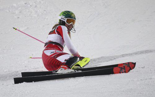 Katharina Liensberger lag nach dem ersten Durchgang in Zagreb auf Platz sieben, im zweiten Lauf rutschte sie aber aus. gepa