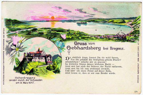 Mit dem Aufkommen der Postkarten fand Castellis Gebhardsberg-Gedicht weite Verbreitung. Hier eine Karte um 1900 mit der 1. Strophe.