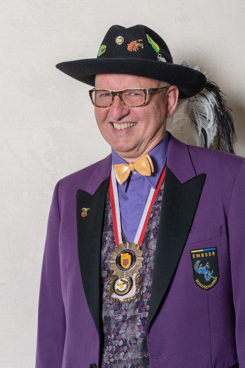 Norbert Nicolussi wird beim 37. Landesnarrentag in Hohenems anzutreffen sein.
