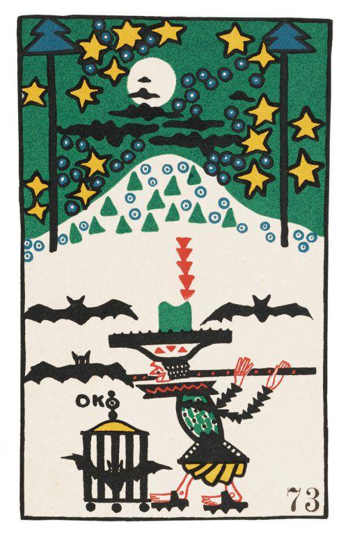 """Postkarte """"Flötenspieler und Fledermäuse"""", 1907; Kokoschka und Alma Mahler, 1912/1913; Porträt Adolf Loos, 1909."""