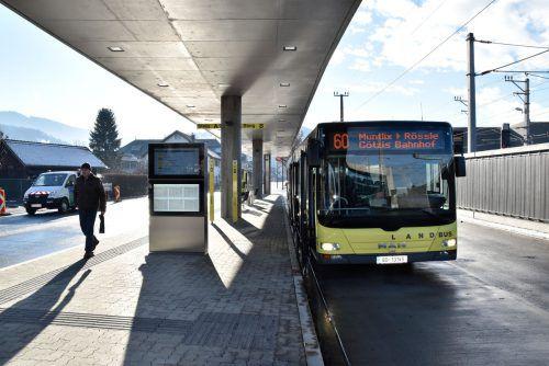 Sämtliche Buslinien fahren den neuen Busterminal an. Marktgemeinde Rankweil