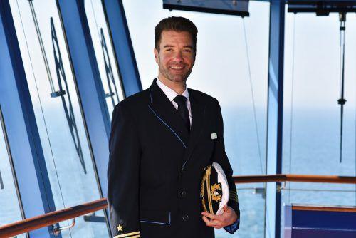 Seit November 2018 hat der Wolfurter Vincent Cofalka das Kommando auf der Aida Nova. Das Kreuzfahrtschiff bietet 6000 Menschen Platz.  Aida Cruises
