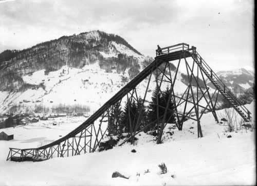 Sprungschanze in Mellau, ca. 1935.