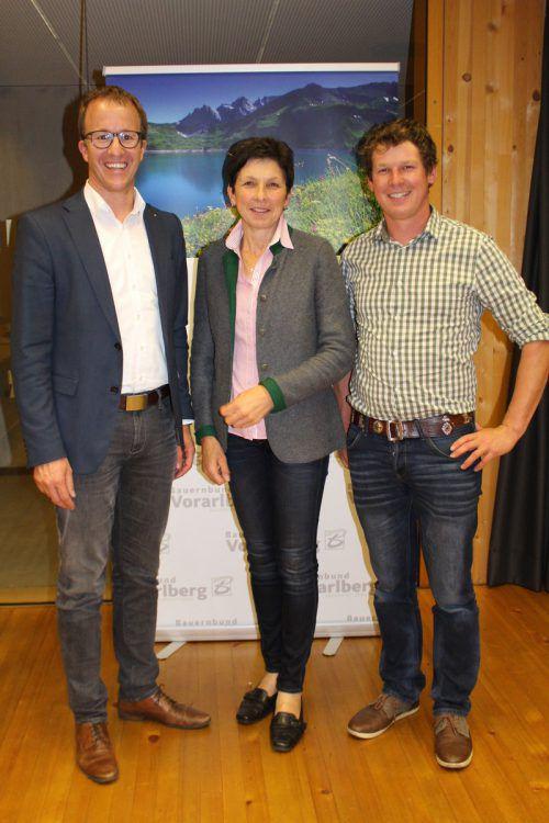 V.l.n.r.: Christian Gantner, Andrea Schwarzmann und Thomas Ganahl. Nicht auf dem Bild ist der Dünserberger Kandidat, Markus Hartmann. BBB