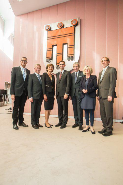 Bernadette Mennel und Erich Schwärzler haben das ÖVP-Regierungsteam bereits verlassen. Bernhard (links) und Rüdisser (rechts) gehen nach der Wahl.VN/Steurer