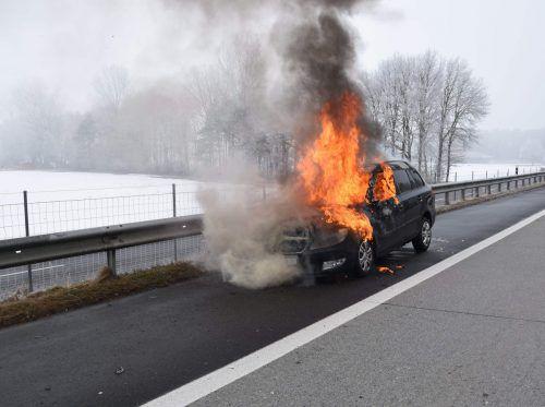 Das Auto brannte auf dem Pannenstreifen völlig aus. kapo