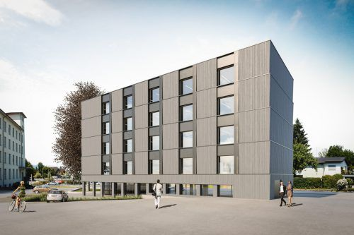 Das erste fünfgeschoßige Holzgebäude Österreichs. Hämmerle