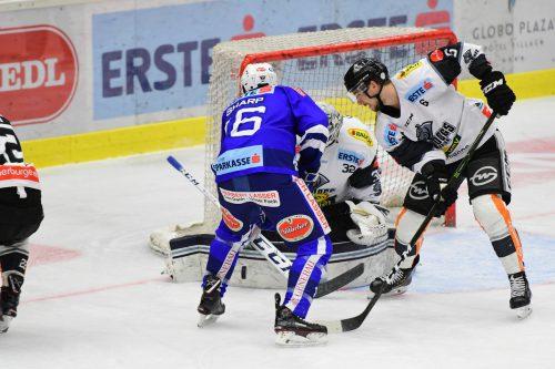 DEC-Verteidiger Jerome Leduc und Torhüter Miroslav Svoboda stemmten sich gegen die Niederlage.PSR/Mitterberger
