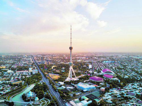 Der riesige Fernsehturm prägt das Bild der usbekischen Hauptstadt Taschkent.