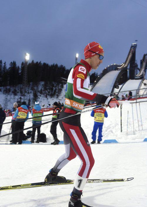 Der Salzburger Mario Seidl sprang und lief in der nordischen Kombination auf den dritten Platz.Reuters