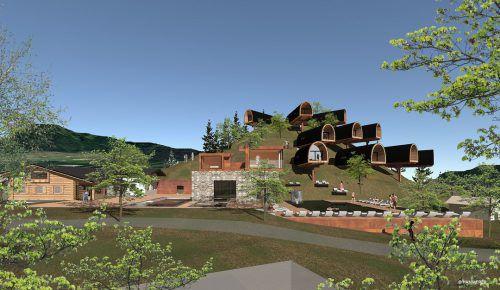Die bienenwabenförmigen Häuschen wurden aus heimischem Holz in Sonntag hergestellt. Anfang April werden sie in Nenzing montiert. Hammerer