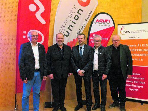 Eckart Neururer (ASKÖ), Werner Müller (Sportunion), Sektionsleiter Philipp Trattner, Wolfgang Urban (ASVÖ) und Reinold Hartmann (IGVS).bitriol