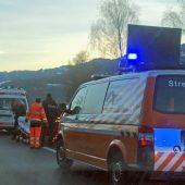 Rettungseinsatz auf der Autobahnabfahrt