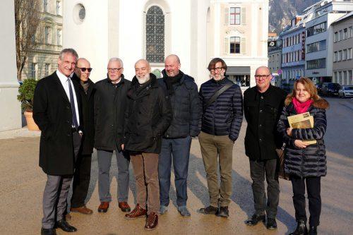 Von links: Markus Linhart, Michael Rauth, Gerhard Hörburger, Paolo Bellenzier, Rinaldo Zanovello, Carlo Calderan, Gernot Schertler und Cecilia Bacshieri. Stadt Bregenz