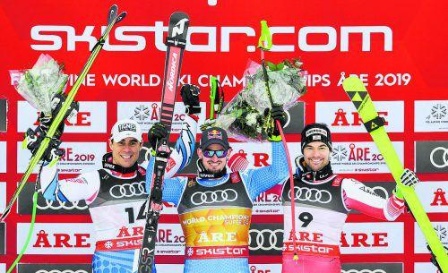 Gold an Dominik Paris, daneben jubelten Vincent Kriechmayr (r.) und Johan Clarey jeweils über eine Silbermedaille.ap