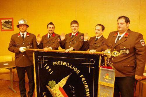 Höhepunkt der Jahreshauptversammlung der Feuerwehr Lauterach war die Angelobung von Patrik Wirtensohn, Sebastian Greußing und Marvin Gutschi.