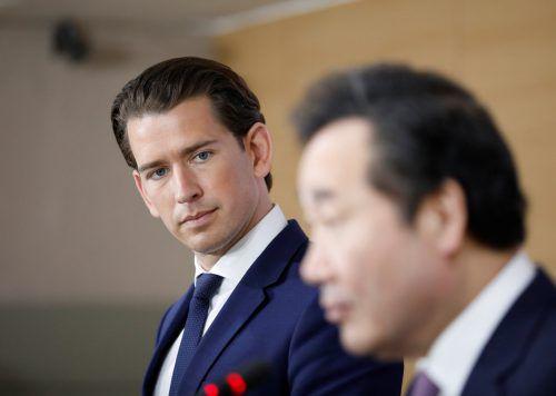Kanzler Sebastian Kurz sprach mit seinem Amtskollegen Lee Nak-Yeon in Seoul. reuters