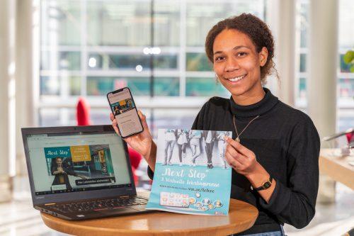 Leonie informiert sich über die vielen Lehrstellenangebote.VN/Stiplovsek