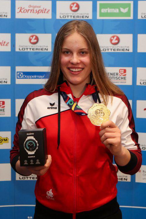 Nicht nur einmal musste Magdalena Egger mit Gold posieren.gepa