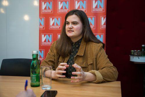 Nina Mathies vertritt selbstbewusst die Interessen der Gymnasialschüler in Vorarlberg. Die Ziffernnoten an Volksschulen kritisiert sie massiv. VN/Steurer