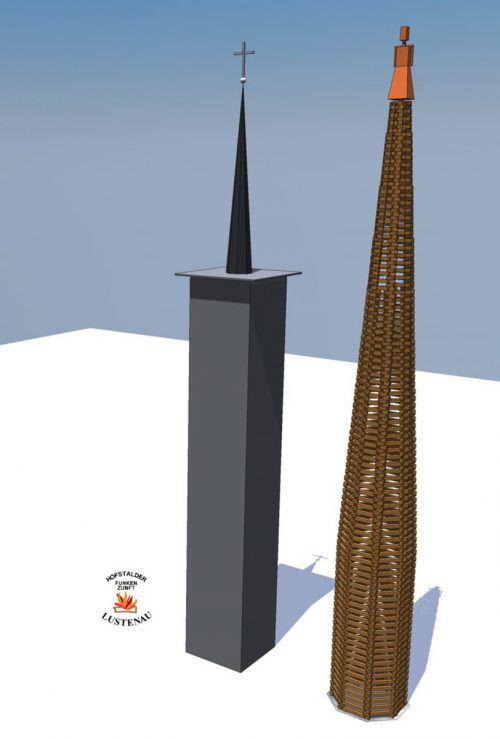 Vergleich Lustenauer Funken 2019 mit St. Peter und Paul Kirche.Hofstalder Funkenzunft
