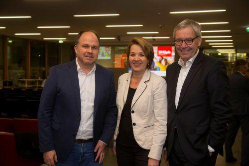 VN-CR Gerold Riedmann, Bgm. Andrea Kaufmann und Lsth. Karlheinz Rüdisser.