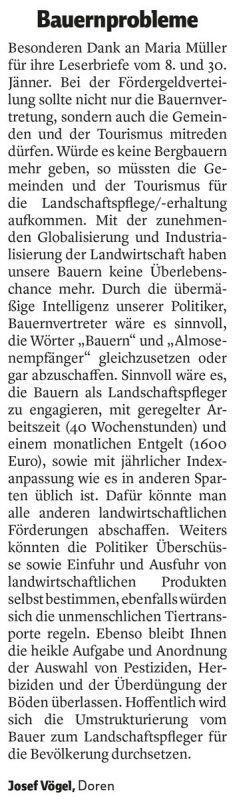 """VN Leserbrief """"Bauernprobleme"""" vom 6. Februar 2019."""